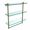 Allied Brass NS-5/16TB-ABR 16 Inch Triple Tiered Glass Shelf with Integrated Towel Bar, Antique Brass
