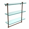 NS-5/16TB-ABZ 16 Inch Triple Tiered Glass Shelf with Integrated Towel Bar, Antique Bronze