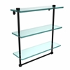 NS-5/16TB-BKM 16 Inch Triple Tiered Glass Shelf with Integrated Towel Bar, Matte Black
