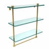 Allied Brass NS-5/16TB-PB 16 Inch Triple Tiered Glass Shelf with Integrated Towel Bar, Polished Brass