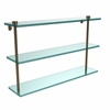 Allied Brass NS-5/22-BBR 22 Inch Triple Tiered Glass Shelf, Brushed Bronze