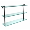 Allied Brass NS-5/22-BKM 22 Inch Triple Tiered Glass Shelf, Matte Black
