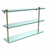 Allied Brass NS-5/22-SBR 22 Inch Triple Tiered Glass Shelf, Satin Brass