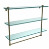 Allied Brass NS-5/22TB-ABR 22 Inch Triple Tiered Glass Shelf with Integrated Towel Bar, Antique Brass
