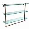NS-5/22TB-ABZ 22 Inch Triple Tiered Glass Shelf with Integrated Towel Bar, Antique Bronze