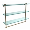 Allied Brass NS-5/22TB-BBR 22 Inch Triple Tiered Glass Shelf with Integrated Towel Bar, Brushed Bronze