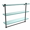 NS-5/22TB-BKM 22 Inch Triple Tiered Glass Shelf with Integrated Towel Bar, Matte Black
