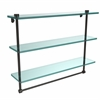 Allied Brass NS-5/22TB-ORB 22 Inch Triple Tiered Glass Shelf with Integrated Towel Bar, Oil Rubbed Bronze