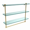 Allied Brass NS-5/22TB-PB 22 Inch Triple Tiered Glass Shelf with Integrated Towel Bar, Polished Brass