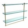 Allied Brass NS-5/22TB-SBR 22 Inch Triple Tiered Glass Shelf with Integrated Towel Bar, Satin Brass