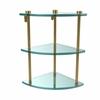 Allied Brass NS-6-PB Three Tier Corner Glass Shelf, Polished Brass
