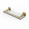 Allied Brass P1000-1/16-GAL-UNL 16 Inch Tempered Glass Shelf with Gallery Rail, Unlacquered Brass