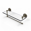 Allied Brass P1000-1PT/16-ABR Prestige Skyline Collection Paper Towel Holder with 16 Inch Glass Shelf, Antique Brass