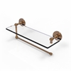 Allied Brass P1000-1PT/16-BBR Prestige Skyline Collection Paper Towel Holder with 16 Inch Glass Shelf, Brushed  Bronze