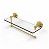Allied Brass P1000-1PT/16-UNL Prestige Skyline Collection Paper Towel Holder with 16 Inch Glass Shelf, Unlacquered Brass