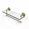 Allied Brass P1000-1PT/16-SBR Prestige Skyline Collection Paper Towel Holder with 16 Inch Glass Shelf, Satin Brass