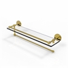 Allied Brass P1000-1PT/22-GAL-UNL Prestige Skyline Collection Paper Towel Holder with 22 Inch Gallery Glass Shelf, Unlacquered Brass