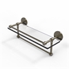 Allied Brass P1000-1TB/16-GAL-ABR 16 Inch Gallery Glass Shelf with Towel Bar, Antique Brass