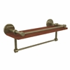 Allied Brass P1000-1TB-16-GAL-IRW-ABR Prestige Skyline Collection 16 Inch IPE Ironwood Shelf with Gallery Rail and Towel Bar, Antique Brass