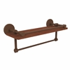 Allied Brass P1000-1TB-16-GAL-IRW-ABZ Prestige Skyline Collection 16 Inch IPE Ironwood Shelf with Gallery Rail and Towel Bar, Antique Bronze