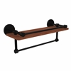 Allied Brass P1000-1TB-16-GAL-IRW-BKM Prestige Skyline Collection 16 Inch IPE Ironwood Shelf with Gallery Rail and Towel Bar, Matte Black