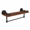 Allied Brass P1000-1TB-16-GAL-IRW-ORB Prestige Skyline Collection 16 Inch IPE Ironwood Shelf with Gallery Rail and Towel Bar, Oil Rubbed Bronze