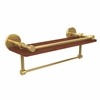 Allied Brass P1000-1TB-16-GAL-IRW-PB Prestige Skyline Collection 16 Inch IPE Ironwood Shelf with Gallery Rail and Towel Bar, Polished Brass
