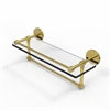 Allied Brass P1000-1TB/16-GAL-UNL 16 Inch Gallery Glass Shelf with Towel Bar, Unlacquered Brass