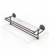Allied Brass P1000-1TB/22-GAL-ABR 22 Inch Gallery Glass Shelf with Towel Bar, Antique Brass