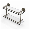 Allied Brass P1000-2/16-GAL-ABR 16 Inch Tempered Double Glass Shelf with Gallery Rail, Antique Brass