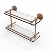 Allied Brass P1000-2/16-GAL-BBR 16 Inch Tempered Double Glass Shelf with Gallery Rail, Brushed Bronze