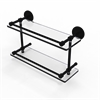 Allied Brass P1000-2/16-GAL-BKM 16 Inch Tempered Double Glass Shelf with Gallery Rail, Matte Black