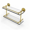 Allied Brass P1000-2/16-GAL-UNL 16 Inch Tempered Double Glass Shelf with Gallery Rail, Unlacquered Brass