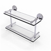 Allied Brass P1000-2/16-GAL-PC 16 Inch Tempered Double Glass Shelf with Gallery Rail, Polished Chrome