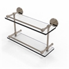 Allied Brass P1000-2/16-GAL-PEW 16 Inch Tempered Double Glass Shelf with Gallery Rail, Antique Pewter