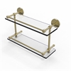 Allied Brass P1000-2/16-GAL-SBR 16 Inch Tempered Double Glass Shelf with Gallery Rail, Satin Brass