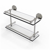 Allied Brass P1000-2/16-GAL-SN 16 Inch Tempered Double Glass Shelf with Gallery Rail, Satin Nickel