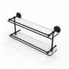 Allied Brass P1000-2/22-GAL-ABZ 22 Inch Tempered Double Glass Shelf with Gallery Rail, Antique Bronze