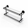 P1000-2/22-GAL-BKM 22 Inch Tempered Double Glass Shelf with Gallery Rail, Matte Black