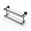 P1000-2/22-GAL-ORB 22 Inch Tempered Double Glass Shelf with Gallery Rail, Oil Rubbed Bronze