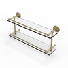 Allied Brass P1000-2/22-GAL-SBR 22 Inch Tempered Double Glass Shelf with Gallery Rail, Satin Brass
