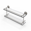 Allied Brass P1000-2/22-GAL-SN 22 Inch Tempered Double Glass Shelf with Gallery Rail, Satin Nickel