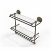 Allied Brass P1000-2TB/16-GAL-ABR 16 Inch Gallery Double Glass Shelf with Towel Bar, Antique Brass