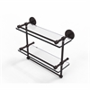 Allied Brass P1000-2TB/16-GAL-ABZ 16 Inch Gallery Double Glass Shelf with Towel Bar, Antique Bronze