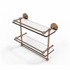 Allied Brass P1000-2TB/16-GAL-BBR 16 Inch Gallery Double Glass Shelf with Towel Bar, Brushed Bronze