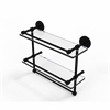 Allied Brass P1000-2TB/16-GAL-BKM 16 Inch Gallery Double Glass Shelf with Towel Bar, Matte Black