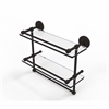 P1000-2TB/16-GAL-ORB 16 Inch Gallery Double Glass Shelf with Towel Bar, Oil Rubbed Bronze