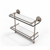Allied Brass P1000-2TB/16-GAL-PEW 16 Inch Gallery Double Glass Shelf with Towel Bar, Antique Pewter