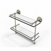 Allied Brass P1000-2TB/16-GAL-PNI 16 Inch Gallery Double Glass Shelf with Towel Bar, Polished Nickel