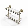 Allied Brass P1000-2TB/16-GAL-SBR 16 Inch Gallery Double Glass Shelf with Towel Bar, Satin Brass